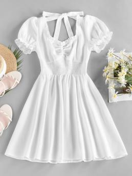 Shopping White Solid Puff Sleeve Short Sleeves Smocked Open Back Ruched Dress