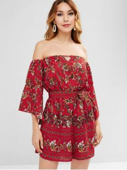 Fall and Summer Yes Adjustable Floral Nonelastic 3/4 Flare Off Loose Boho Beach Bell Sleeves Floral Print Off Shoulder Romper