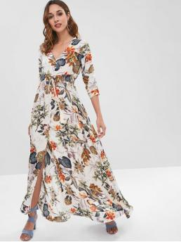 No Fall and Spring Floral 3/4 V-Collar Ankle-Length A-Line Beach and Vacation Fashion Printed Maxi Button Through Dress