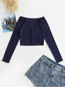 Autumn and Spring Solid Elastic Full Raglan Scoop Regular Casual Button Down Raglan Sleeve Cropped T Shirt