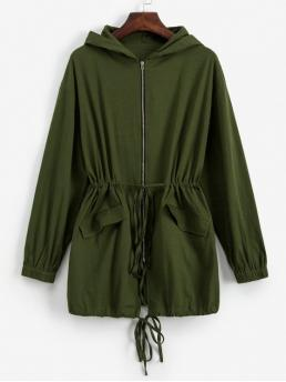 Autumn Pockets Solid Zipper Hooded Drop Full Long Wide-waisted Coat Daily Casual Pockets Zip Up Solid Hooded Coat