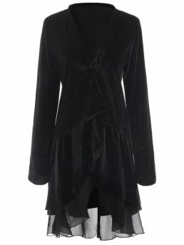 No Adjustable Solid Collarless Full Wide-waisted Chiffon Trench Fashion Swingy Velvet Long Sleeve Coat