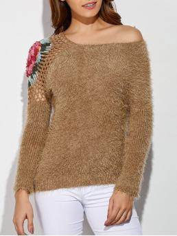 Full Skew Fashion Pullovers Hollow Out Embroidered Skew Neck Fuzzy Sweater