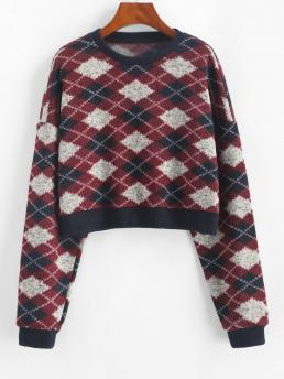 Clearance Full Sleeve Pullovers Polyester,polyurethane Geometric Argyle Pattern Cropped Fleece Sweater