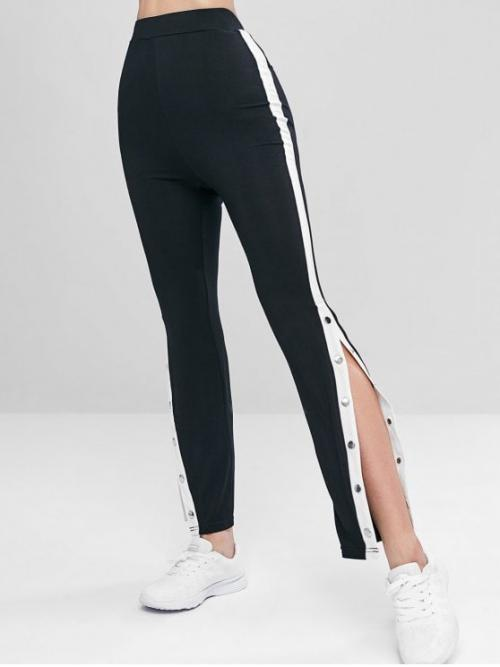 Summer Full Button Patchwork High Daily and Sports Casual Buttoned High Waist Leggings