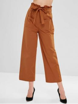 Fall and Spring Zipper Wide Solid Straight High Fashion Frilled High Waisted Wide Leg Pants