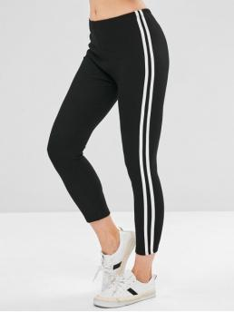Fall 7/8 Striped Mid Daily Casual Side Striped Skinny Leggings