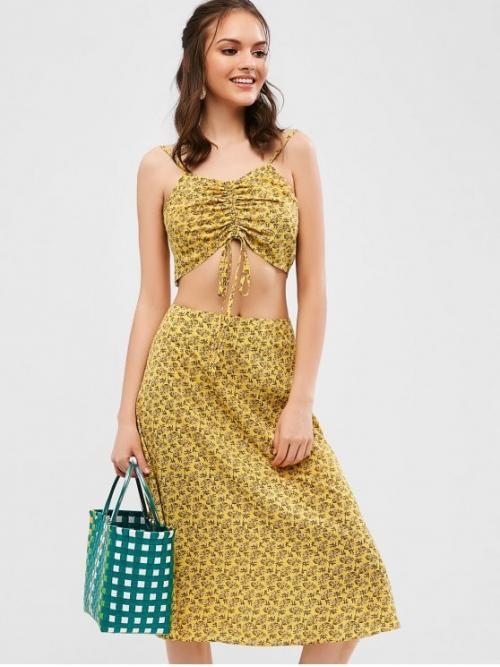 No Summer Floral Flat Zipper High Nonelastic Sleeveless Spaghetti A Fashion Beach Cinched Floral Cami Top And Skirt Set