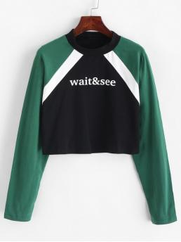 Autumn and Spring Letter and Patchwork Elastic Full Short Raglan Round Crop Cropped Slogan Graphic Color Block Sweatshirt