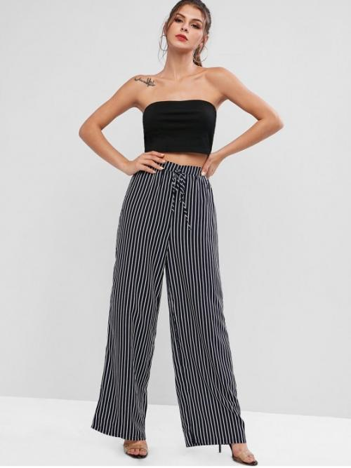 Fall Striped Flat Elastic High Sleeveless Strapless Loose Fashion Daily Striped Strapless Wide Leg Pants Set