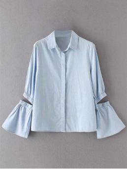 Autumn and Spring Solid Full Flare Regular Denim Shirt Streetwear Cut Out Flare Sleeve Chambray Shirt