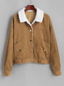 Womens Full Sleeve Wide-waisted Polyester Others Shearling Lined O Ring Jacket
