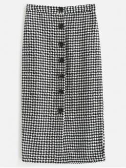 Fall and Spring and Winter Button Houndstooth Pencil Mid-Calf Daily and Going Elegant Houndstooth Tweed Midi Skirt
