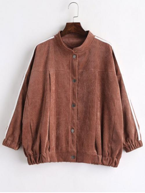 Others Stand-Up Full Regular Wide-waisted Fashion Jackets Contrast Stripe Corduroy Jacket