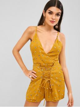 Summer No Backless and Lace Print Nonelastic Sleeveless Spaghetti Regular Sexy Daily Knot Printed Lace-up Romper