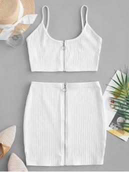 Summer Zip Solid Flat Zipper Mid Sleeveless Spaghetti Slim Casual Casual and Going Zip Up Crop Top and Sheath Skirt Set