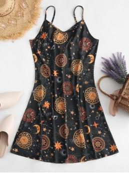 No Summer Moon and Star Backless Sleeveless Spaghetti Mini A-Line Casual and Day and Vacation Fashion Printed Backless Short Tunic Cami Dress