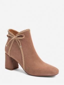 Elegant Suede Zip Bowknot Chunky Square Ankle Fall and Spring Fashion For Braided Trim Bowknot Square Toe Ankle Boots