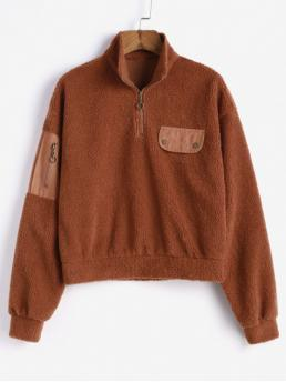 Autumn and Winter Pockets and Zipper Others Full Regular Drop Sweatshirt Drop Shoulder Quarter Zip Pocket Fluffy Sweatshirt