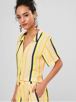 Spring and Summer Striped Short Regular V-Collar Casual Daily and Outdoor V Neck Striped Knot Blouse