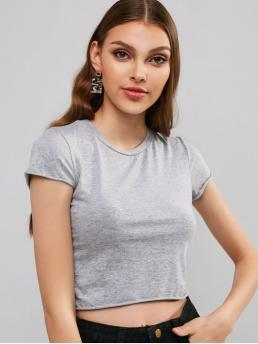 Summer Solid Short Round Casual Short Sleeves Plain Crop Tee