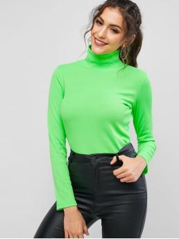 Autumn Solid Full High Casual High Neck Ribbed Neon Tee