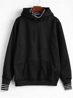 Autumn Front Striped Full Regular Hoodie Striped Front Pocket Faux Twinset Hoodie