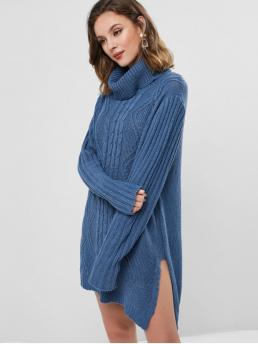 No Fall and Winter Solid Slit Long Turtlecollar Mini Straight Casual and Day Brief Turtleneck Cable Knit Slit Tunic Sweater Dress