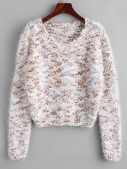 Full Sleeve Pullovers Polyester,polyurethane Others Fuzzy Chenille Confetti Knit Sweater Discount