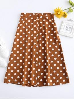 Fall and Spring and Summer Button Polka A-Line Mid-Calf Daily and Going Fashion Buttoned A Line Polka Dot Midi Skirt