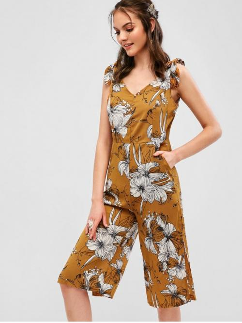 Summer No Pockets and Slit Floral Nonelastic Sleeveless V-Collar Capri Regular Fashion Daily and Going Tied Straps Floral Slit Wide Leg Jumpsuit