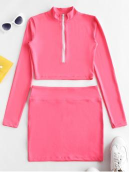 No Fall and Spring Zippers Solid Flat Elastic High Elastic Long Mock Bodycon Fashion Daily and Going Half Zip Neon Cropped Top And Skirt Set