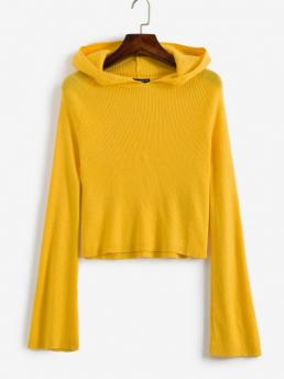Full Sleeve Pullovers Acrylic,nylon,polyester,wool Yellow Ribbed Cropped Sweater on Sale