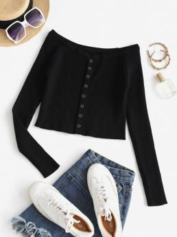 Fashion Full Sleeve Cardigans Cotton,polyester Solid Snap Button Ribbed Cropped Cardigan