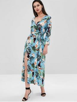 No Fall and Spring Animal and Floral and Leaf 3/4 Plunging Floor-Length Surplice A-Line Casual and Vacation Fashion Floral Bird Print Slit Surplice Dress