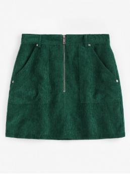 No Fall and Spring and Summer Zipper Pockets Solid A-Line Mini Daily and Going Fashion Half Zip Pockets Corduroy Skirt