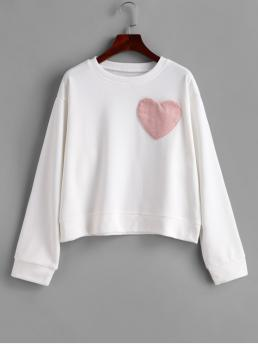 Autumn and Winter Pockets Others Full Regular Drop Round Sweatshirt Corduroy Heart Pocket French Terry Drop Shoulder Sweatshirt
