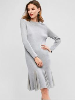 No Fall and Spring Elastic Solid Mesh Long Round Knee-Length Sheath Casual and Day Fashion Long Sleeve Mesh Panel Flounced Hem Sweater Dress