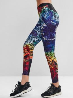 Fall and Spring 7/8 Floral Mid Daily and Sports Fashion Colorful Flower Skinny Yoga Leggings