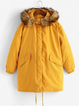 Winter No Nonelastic Pockets Others Hooded Full Long Wide-waisted Down Daily and Going Fashion Fur Collar Zip Up Flap Pockets Parka Coat