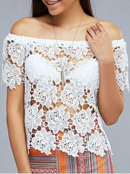 Solid Fall and Spring and Summer Casual Off Short Crop Openwork Lace Hook Off The Shoulder T-Shirt