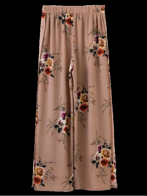 Elastic Wide Floral Loose High Fashion Slit Floral Wide Leg Pants