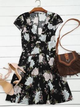 Fall and Spring and Summer No Floral Short Mini Plunging A-Line Casual Floral Plunging Neck Cut Out Dress