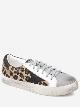 Spring/Fall PU Leopard Lace-Up For Star Leopard Print Color Block Skate Shoes