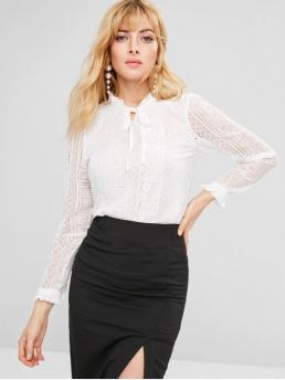 Floral Full Regular Ruff Elegant Daily and Festival Frilled Tie Neck Lace Blouse