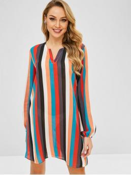 No Fall and Spring Striped Long V-Collar Mini Tunic Straight Casual and Work Brief Rainbow Striped Tunic Dress