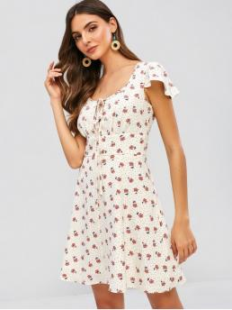No Summer Empire Floral and Polka Short Keyhole Mini A-Line Casual  and Vacation Casual Floral Polka Dot Keyhole Flare Dress
