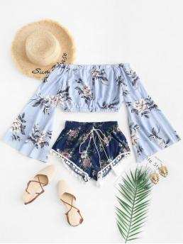 Summer Tassel Floral Flat Elastic Mid Long Flare Off Regular Casual Casual Floral Print Cropped Top and Pompoms Shorts Set