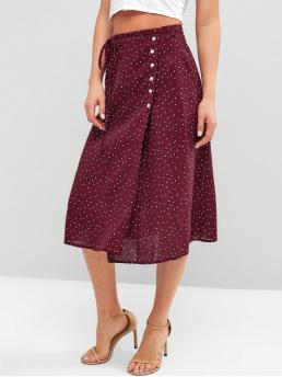 No Nonelastic Summer Tie Button Polka A-Line Mid-Calf Daily and Going Fashion Buttoned Moon Dots Wrap Skirt