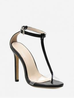 Summer PU Rubber Solid Buckle Stiletto Ankle Casual Casual For T Strap Peep Toe Stiletto Heel Sandals
